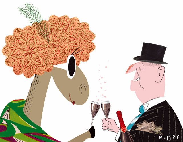 Illustration appearing in The Age Newspaper for the Melbourne Cup Race.