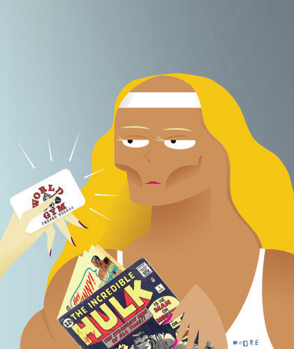 Healthsmart magazine illustration accompanying humorous article about being a member of a Gym.